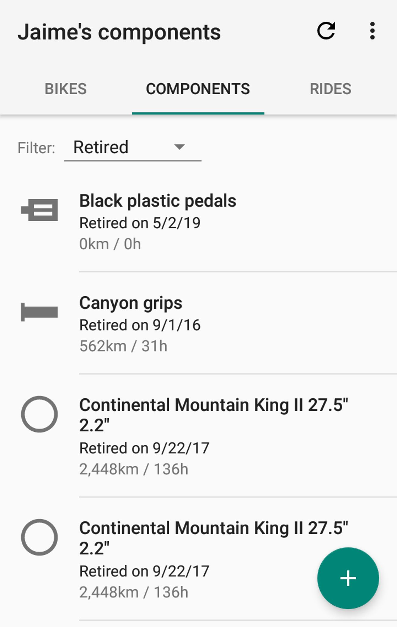 📲 New ProBikeGarage version available: Retire components