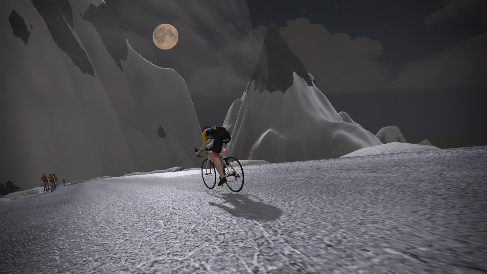 Orny descending a mountain in Zwift's Watopia